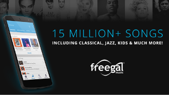 mobile phone showing freegal music app text: 15 million + songs including classica, jazz, kids and much more