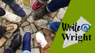 group of feet pointing to a block. write @ wright logo