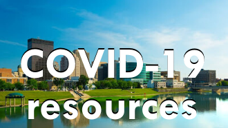 "photo of dayton with text ""covid-19 resources"""