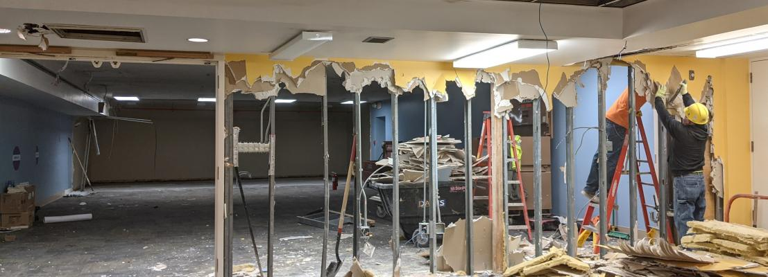 demolition of a wall in the library's lower level