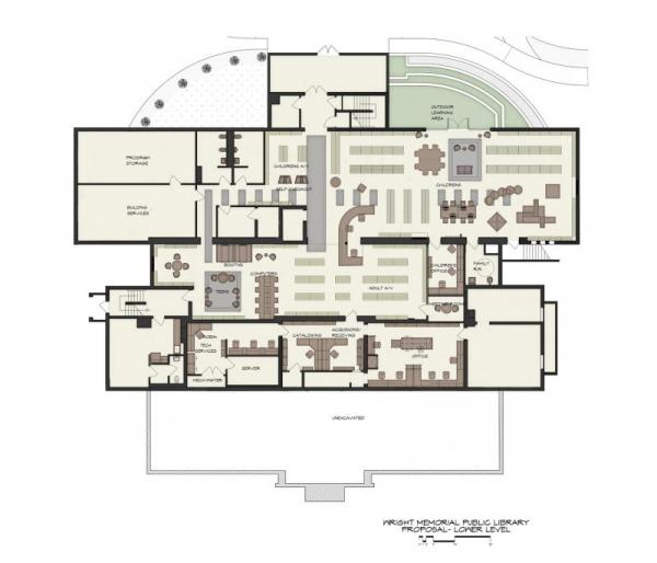 renovation plans for parkside, lower level, of the library