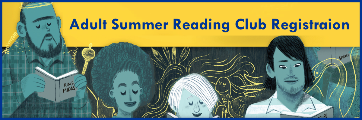 adult summer readingclub registration- illustratin of folks reading