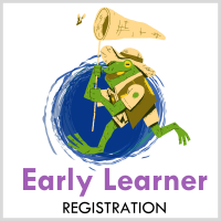 illustration of a frog chasing butterfly with a net Text:EarlyLearner registration