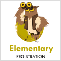 illustration of an owl exploring with binoculars text: elementary Registration