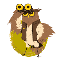 illustration of an owl exploring with binoculars