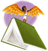 person with wings on a stack of books