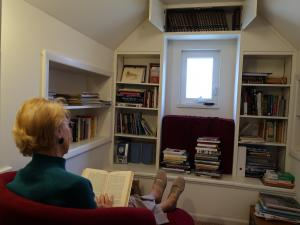 Patron reading at home
